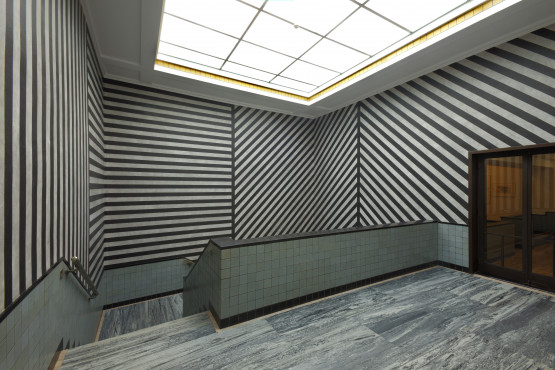 Sol LeWitt [1928-2007], WALL DRAWING NUMBER 373: LINES IN FOUR DIRECTIONS (EQUAL SPACING ON AN UNEQUAL WALL)