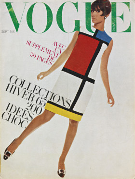 Cover French Vogue, September 1966, with Mondrian dress by Yves Saint Laurent