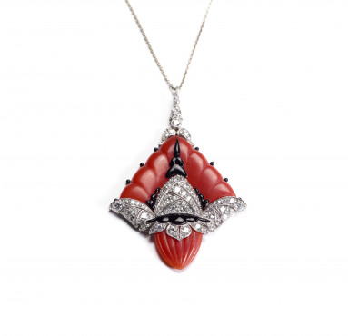 Steltman, Platinum pendant with blood coral, enamel and diamonds, 1931