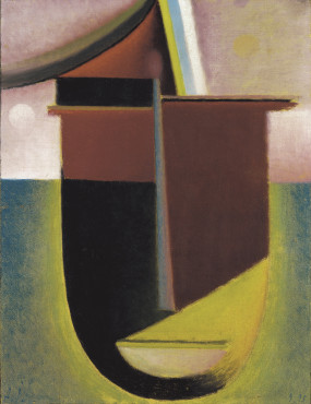 Abstract head: Light and darkness / thousand and one nights, 1925, Oil on cardboard, 42,5 x 32,5 cm, Museum Wiesbaden