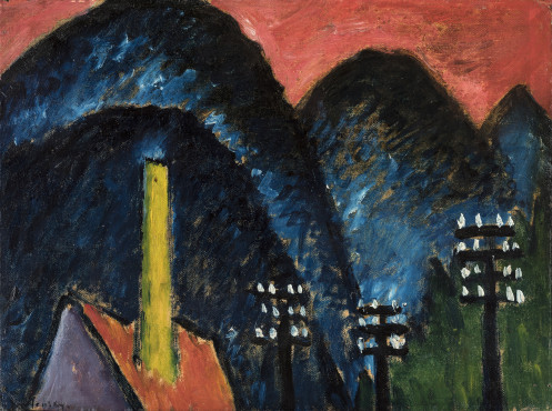 Alexej von Jawlensky (1864-1941), Blue mountains (Landscape with yellow chimney), 1912, Oil on cardboard, 33,5 x 44,5 cm, Museum Wiesbaden