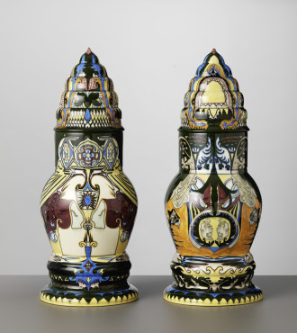 Theo Colenbrander (1841-1930) executed by Plateelbakkerij Rozenburg, The Hague Two lidded vases Pagode, 1886 glazed painted earthenware Gemeentemuseum Den Haag