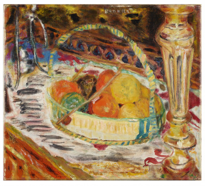 Pierre Bonnard (1867-1947,) Panier de fruits sur le buffet (Fruitmand op het buffet / Basket of Fruit on Sideboard), 1924, Kunstmuseum Den Haag.