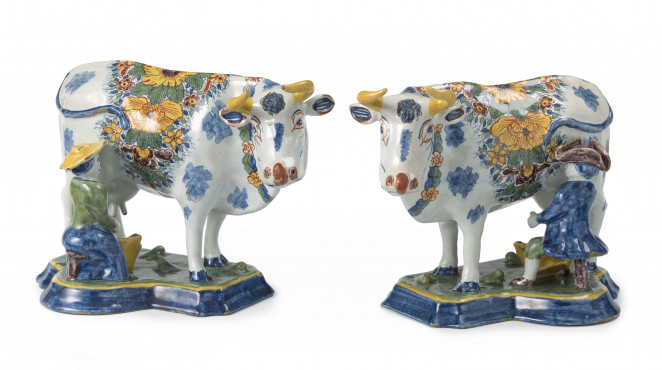 Pair of milking groups, Delft, 1750-1780, tin-glazed earthenware, width 23 cm, Kunstmuseum Den Haag – The Lavino Collection