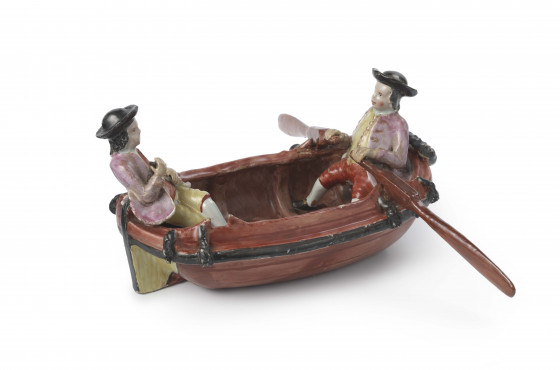 Model of a boat and rowers, Delft, circa 1760,  tin-glazed earthenware, width 22 cm, Kunstmuseum Den Haag – The Lavino Collection