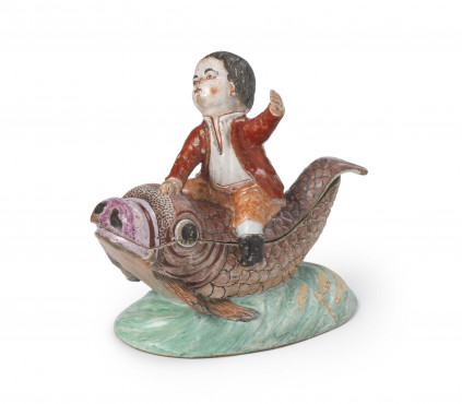 Boy riding fish tureen and cover, Delft, 1750-1770, tin-glazed earthenware, width 16 cm, Kunstmuseum Den Haag – The Lavino Collection