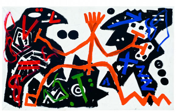 A.R. Penck, Entscheidung, 1983, Dispersieverf op doek, 180 x 300 cm,  No Hero Foundation