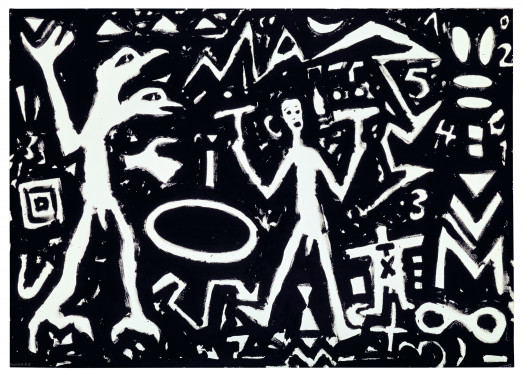 A.R. Penck, T IV, 1981, Dispersion on canvas, 200 x 300 cm, Birkelsche Stiftung für Kunst und Kultur