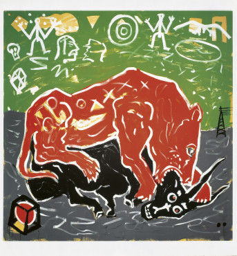 A.R. Penck, How it Works, 1989, acrylic paint on canvas, 340 x 340 cm, Galerie Michael Werner.