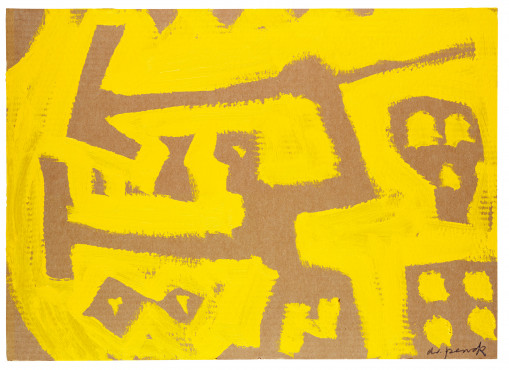 A.R. Penck, Guerriero Artistico, 1990, Dispersion on corrugated cardboard 50 x 70 cm, Galerie Michael Werner
