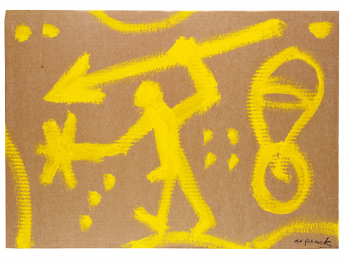 A.R. Penck, Guerriero Cosmico, 1990, Dispersion on corrugated cardboard, 50 x 70 cm, Galerie Michael Werner