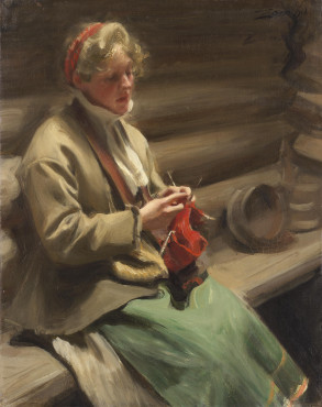 Anders Zorn, Dalecarlian Girl Knitting, 1901, oil on canvas, 72 x 57 cm, Nationalmuseum, Stockholm.