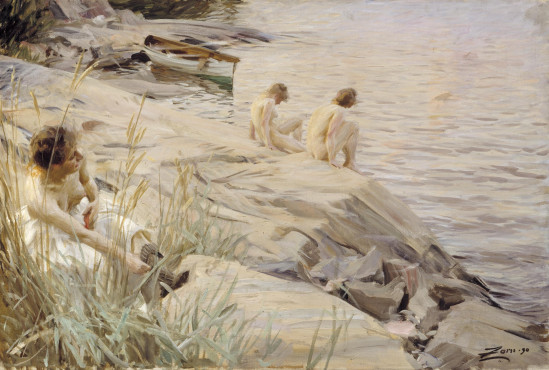 Anders Zorn, Girls Bathing in the Open Air (Out of Doors), 1890, oil on canvas, 69 x 101,5 cm, Finnish National Gallery, Ateneum Art Museum, Helsinki. Photo: Finnish National Gallery, Hanny Aaltonen.