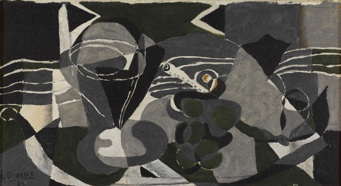 Georges Braque, Still Life with Wine and Grapes, 1929, oil on canvas, 23 x 41,2 cm, Kunstmuseum Den Haag.