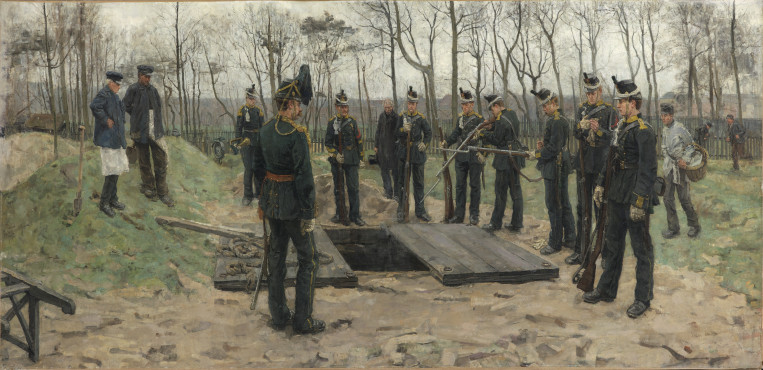 Isaac Israels, Military funeral, 1882, oil on canvas, 125 x 261 cm, Kunstmuseum Den Haag.