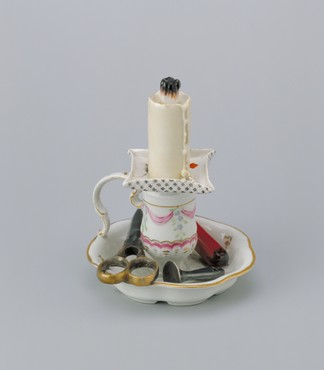 Faux chamberstick and candle  Ansbach, decorated in The Hague, 1776-1790 Porcelain, height 12.4 cm Kunstmuseum Den Haag
