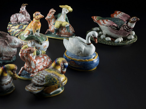 Delftware animal tureens, 1760-1780, collection Kunstmuseum Den Haag