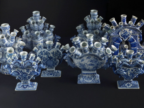 A selection of Delft flower vases, 1690-1740, H 20-29 cm, collection Kunstmuseum Den Haag