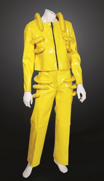 Marty Basart Man's suit 1969 Artificial material, cotton, metal. Made for a contest for students of fashion academies to honour the 100 years anniversiry of Dutch fashion company Peek & Cloppenburg in 1969. The name of the contest was 'Costume for the future'. Photo: Kunstmuseum Den Haag