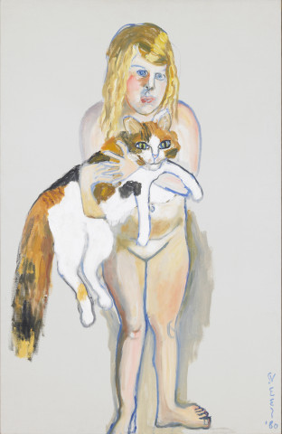Alice Neel, Victoria and the Cat, 1980, Olieverf op doek, 101 x 65,4 cm, Honolulu Museum of Art, legaat Frederic Mueller, 1990.  © The Estate of Alice Neel