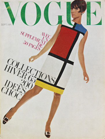 Cover Franse Vogue, september 1966, met Mondriaan-jurk van Yves Saint Laurent