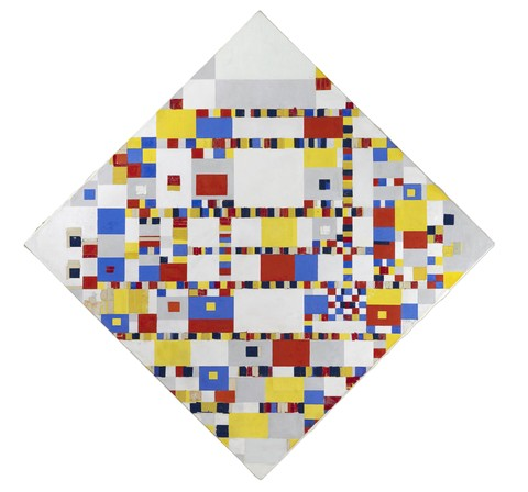 Piet Mondrian (1872-1944), Victory Boogie Woogie, 1942-1944 (New York). Loan ICN, Amsterdam. Oil, tape, paper, charcoal and pencil on canvas.oogte 127.5 cm en breedte 127.5 cm.