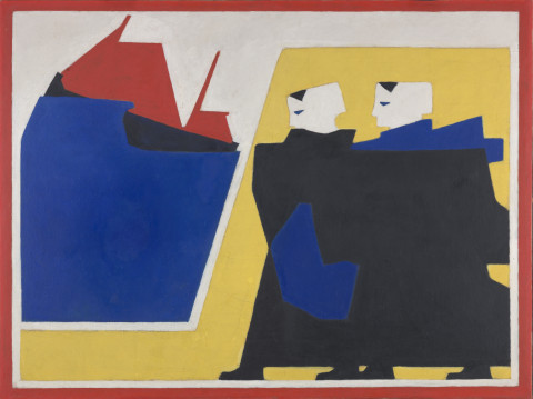 Bart van der Leck, The tempest, 1916, oil on canvas, 118 × 159 cm. Kröller-Müller Museum, Otterlo.